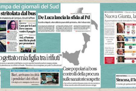 Il Sud in Prima Pagina. Calabria, la rivoluzione di Oliverio – Orrore a Palermo, neonata muore in un cassonetto – Fisciano, studentessa schiacciata dal bus