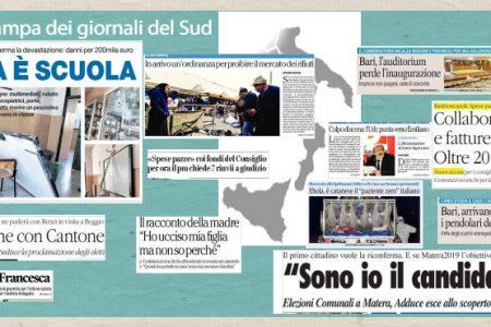Il Sud in Prima Pagina. Napoli, devastata la scuola okkupata – Salerno, migliaia in lacrime per Francesca – E' catanese il malato italiano di Ebola