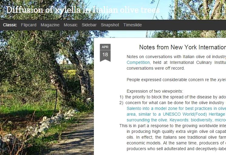 Anche un sito inglese sull'emergenza xylella in Puglia