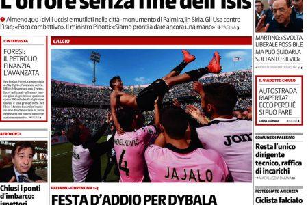 LE PRIME PAGINE DEL SUD. Processo al Napoli, festa d'addio per Dybala a Palermo