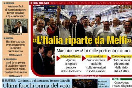 LE PRIME PAGINE DEL SUD. L'addio di Benitez al Napoli – Renzi a Melfi: l'Italia riparte da qui