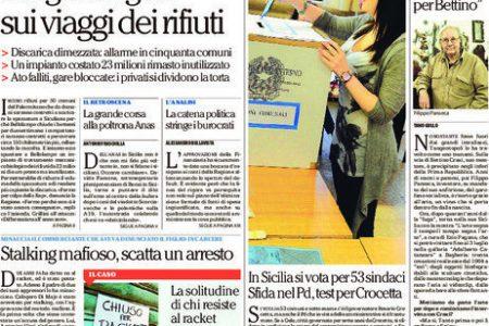 Le Prima pagine dei giornali del Sud. Si vota in Puglia e Campania – Migranti: tragedia senza fine – E' il giorno di Napoli-Lazio