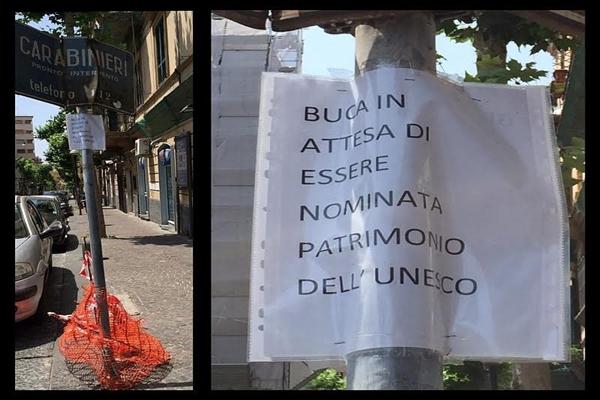 Napoli, le buche diventano…patrimonio dell'Unesco