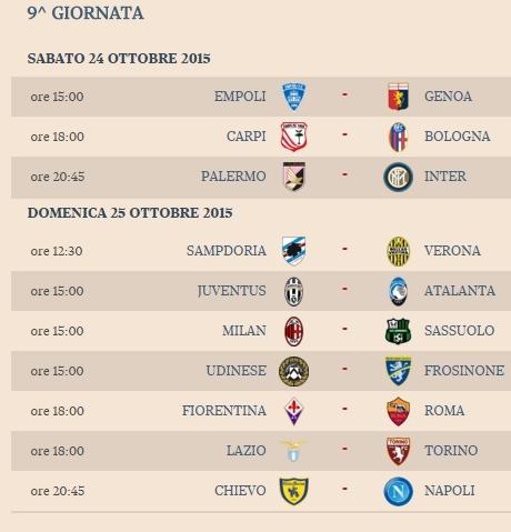 Serie A La Classifica E Le Partite Domani Chievo Napoli Ilsudonline