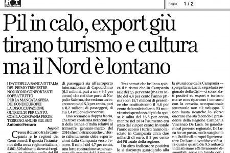 Pil in calo, export giù tirano turismo e cultura ma il Nord è lontano