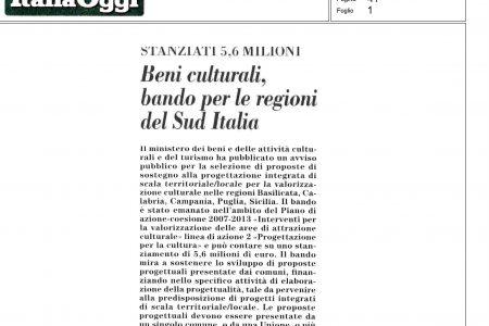 Beni culturali, bando per le regioni del Sud Italia – Italia Oggi