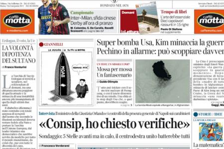 Le prime pagine dei giornali in edicola