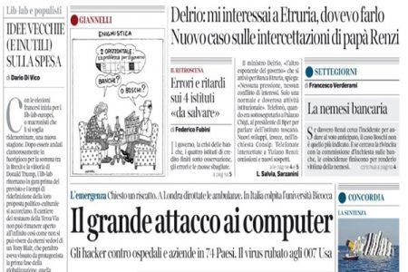 Le prime pagine dei giornali di sabato 13 maggio