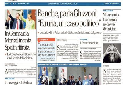 Le prime pagine dei giornali di lunedì 15 maggio