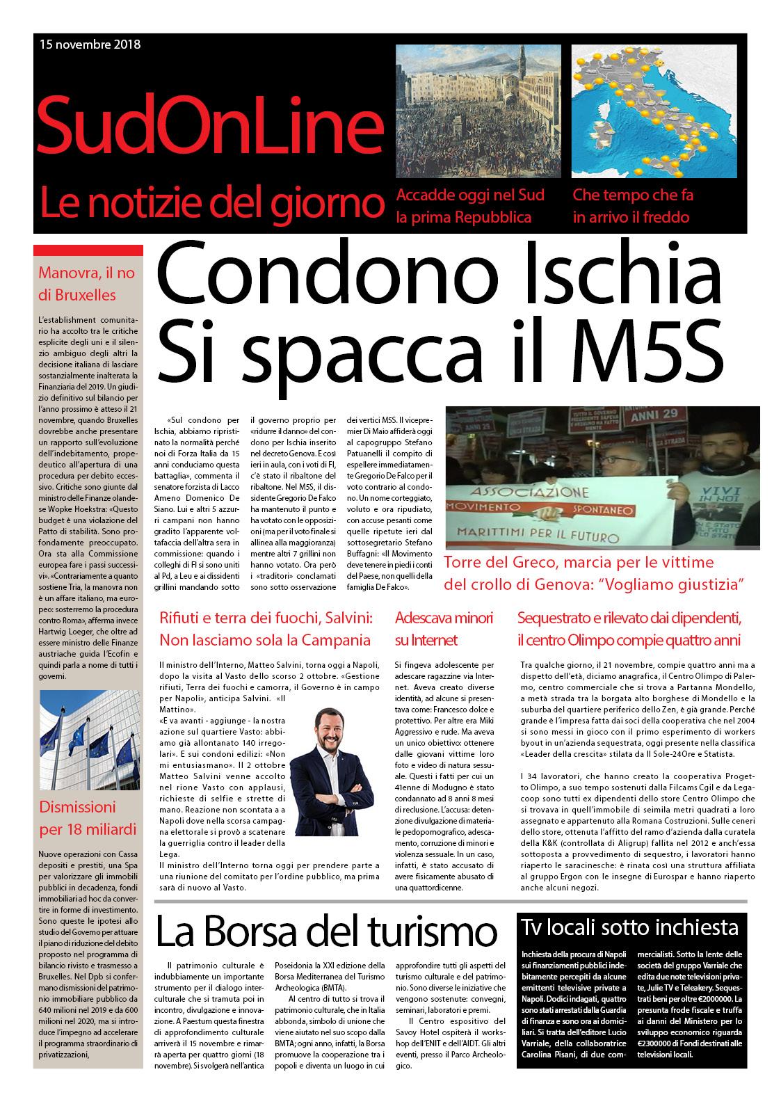 IlSudOnLine del 15 novembre: Torre del Greco ricorda le vittime di Genova, inchiesta sulle tv campane, Salvini a Napoli