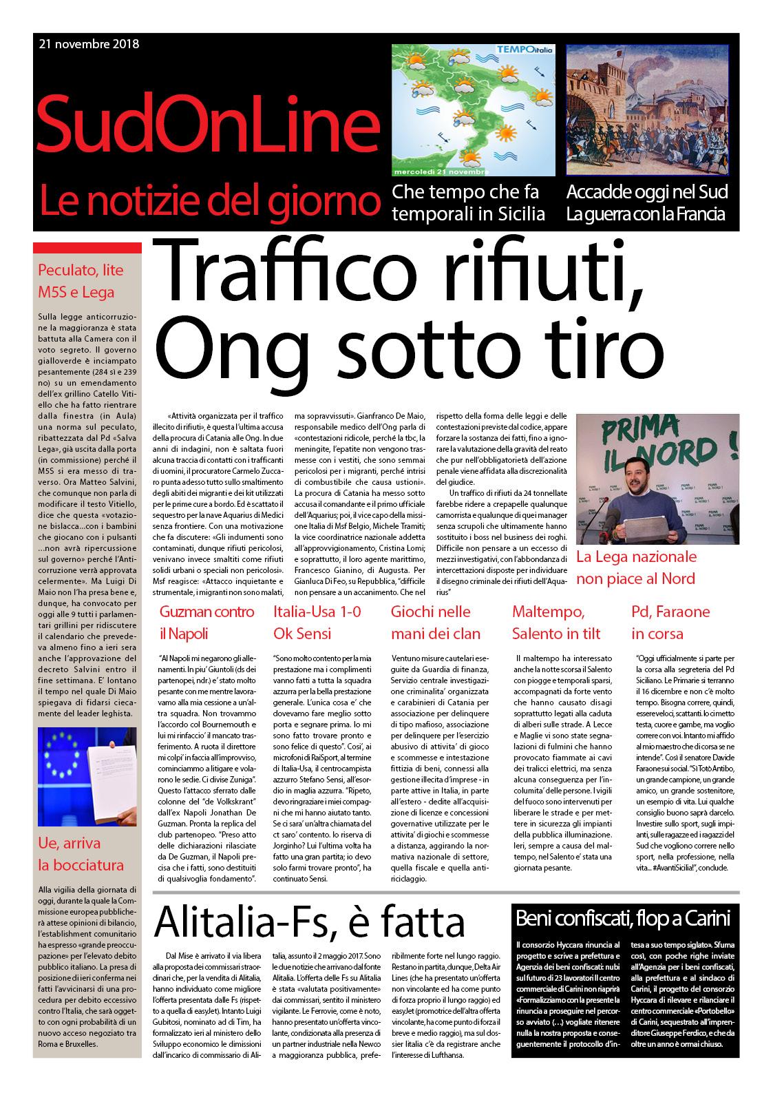 Il Sud On Line quotidiano: da Catania siluro alle Ong, il Nord non piace la Lega che va al Sud…