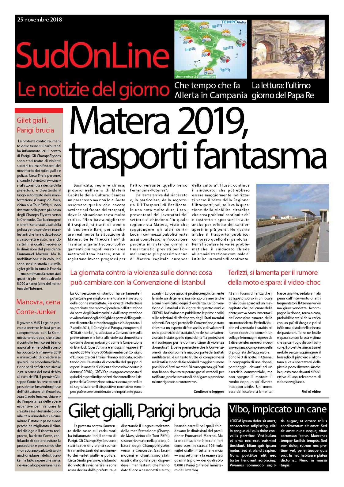Il SudOnLine Quotidiano: Basilicata, Regione chiusa – Spara per il rumore della moto – Macabra intimidazione, cane impiccato