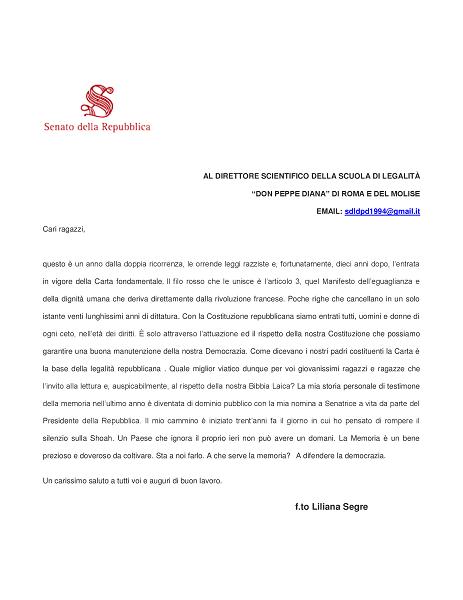 """La """"Scuola di Legalità"""" in prima linea contro la discriminazione: una lettera di Liliana Segre"""