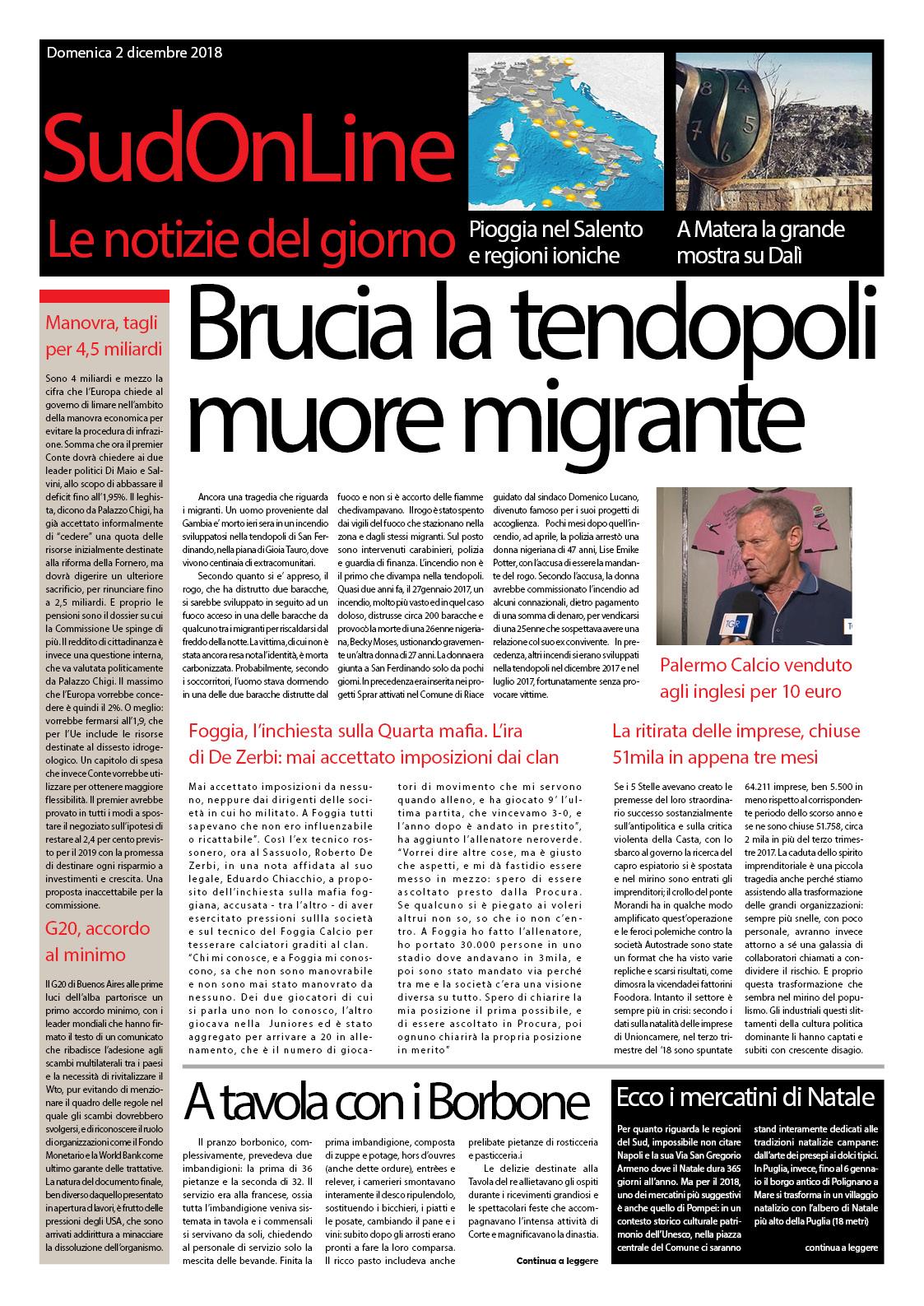 Il SudOnLine quotidiano: brucia la tendopoli di Reggio, un morto – Palermo calcio venduto per 10 euro – A Matera la mostra su Dalì