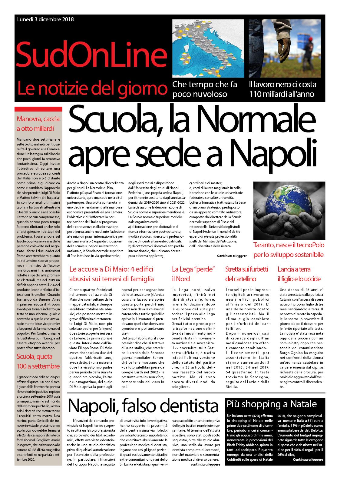 Il SudOnLine quotidiano: Scuola, a Napoli e Taranto due nuovi poli di eccellenza – Più shopping a Natale – Quanto ci costa il lavoro nero