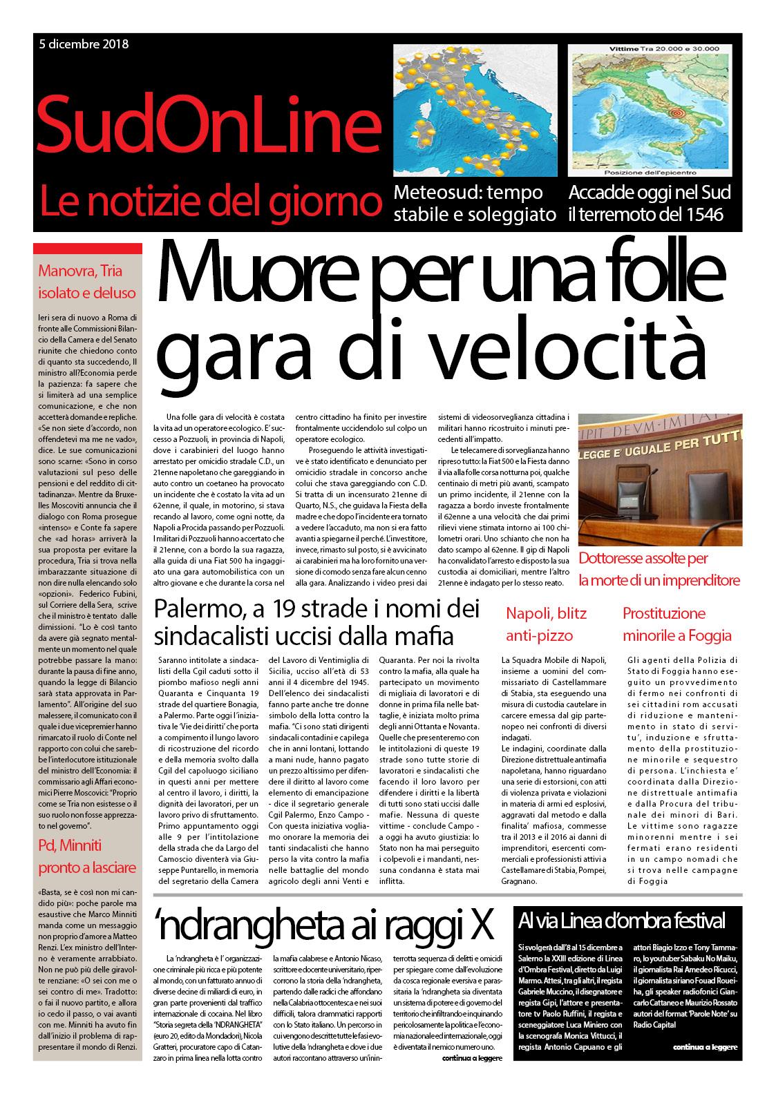 Il SudOnLine quotidiano di martedì 5 dicembre. Gara di velocità mortale a Napoli – Blitz mondiale contro la 'ndrangheta – Il terremoto del 1546 che distrusse il Sud