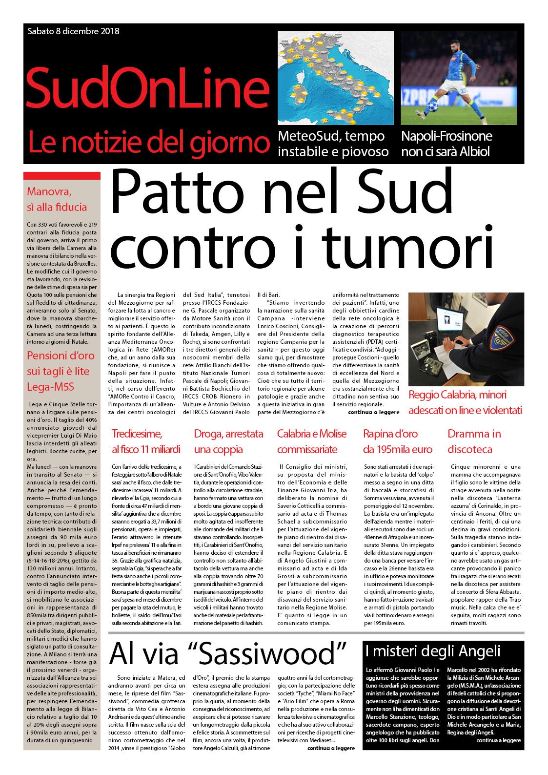 Il SudOnLine quotidiano di sabato 8 dicembre: Patto al Sud contro i tumori – Oggi Napoli-Frosinone – Alla scoperta degli Angeli
