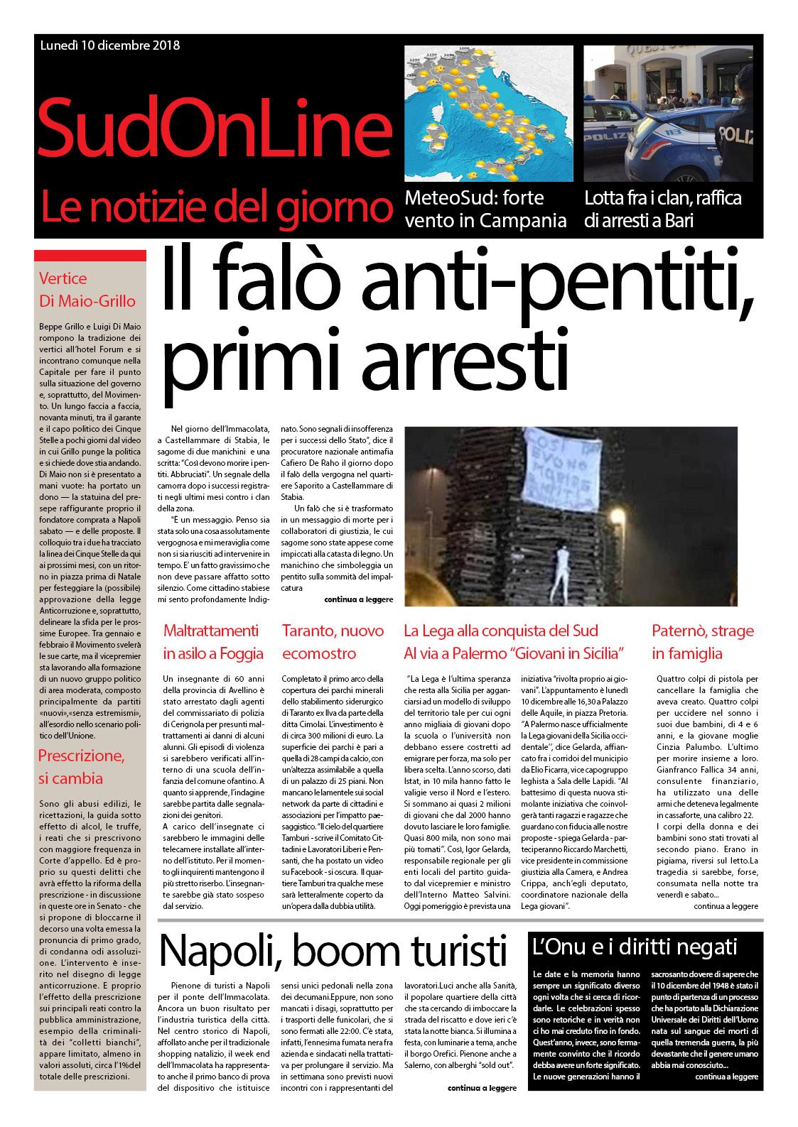 Il SudOnLine Quotidiano del 10 dicembre 2018 – Il falò della vergogna a Castellammare – L'anniversario della dichiarazione dei diritti dell'uomo – La strage della famiglia a Paternò