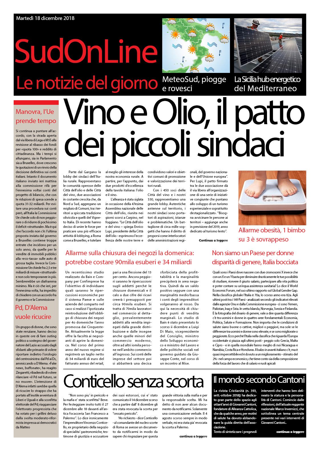 IlSudOnLine quotidiano, il patto delle città dell'olio e del vino – Sicilia hub energetico del Mediterraneo – L'imprenditore antimafia resta senza scorta e scoppia la polemica