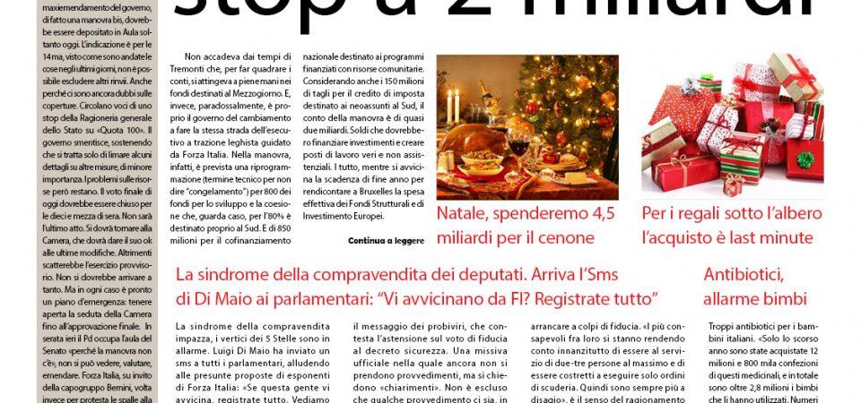 Il SudonLine quotidiano del 22 dicembre. Stangata al Sud con la manovra – Il rebus delle pensioni – Meno spese per il cenone di Natale