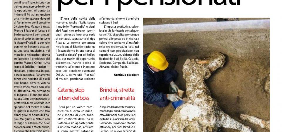 Il SudOnLine quotidiano del 24 dicembre 2018. Sud modello Portogallo per i pensionati – I cavalli di Pompei – A Napoli la pizza-panettone