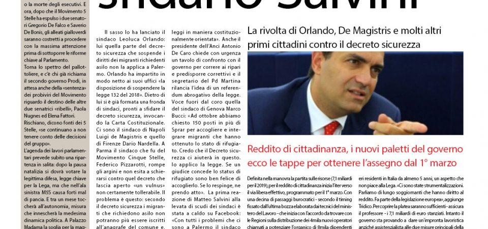 Il SudOnLine quotidiano del 3 gennaio 2019. Decreto sicurezza, Orlando e De Magistris sfidano Salvini –