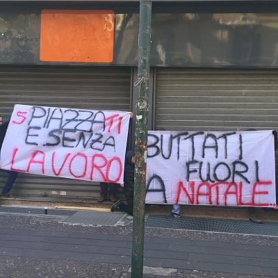 Napoli, via Luca Giordano: presidio dei dipendenti senza lavoro
