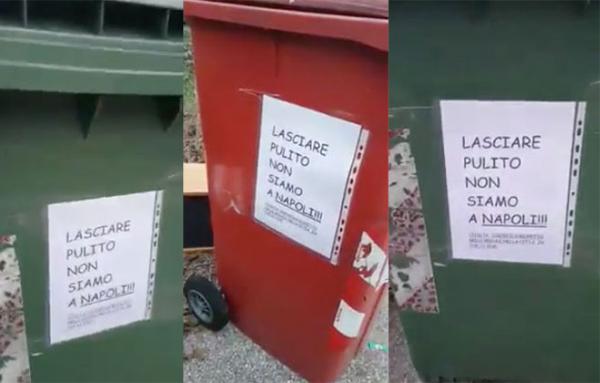 """""""Lasciate pulito, non siamo a Napoli"""", bufera sul cartello razzista affisso a Pordenone"""