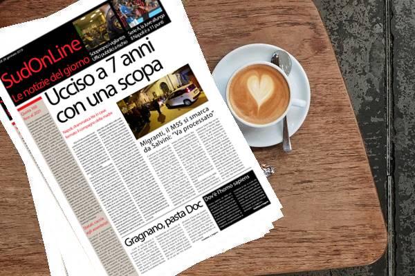 """Il Sud On Line quotidiano di lunedì 28 gennaio 2019. Bimbo di 7 anni ucciso a colpi di scopa: fermato il compagno della madre – Migranti, i Cinquestelle si smarcano da Salvini: """"Va processato"""" – Serie A, la Juve allunga: Napoli a 11 punti"""
