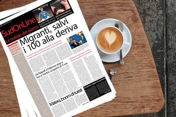 SudOnLine quotidiano di lunedì 21 gennaio. Migranti, salvi i cento alla deriva – Il Napoli stende la Lazio – Oggi sciopero dei bus anche a Napoli e Palermo