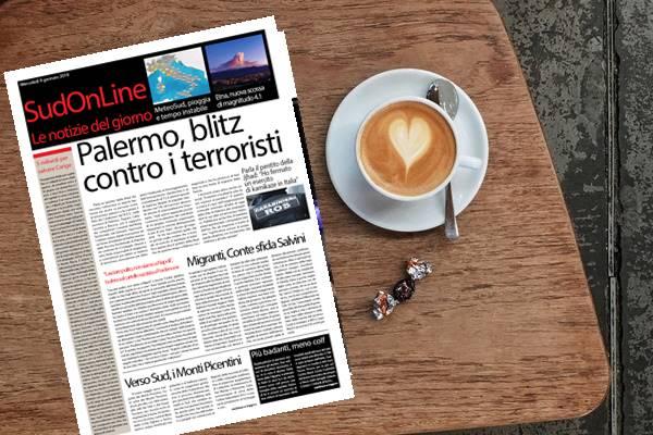 Il SudOnLine quotidiano di mercoledì 9 gennaio 2019. Un pentito della Jjhad fa arrestare 15 terroristi a Palermo – Viaggio al Sud, il nostro reportage parte dai Monti Picentini – Etna, nuova scossa di terremoto