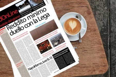 Il Sud On Line Quotidiano di lunedì 18 febbraio: Reddito di Cittadinanza, duello M5s-Lega, torna l'incubo delle messe nere in Calabria, Il Napoli frena e la Juve fa 13