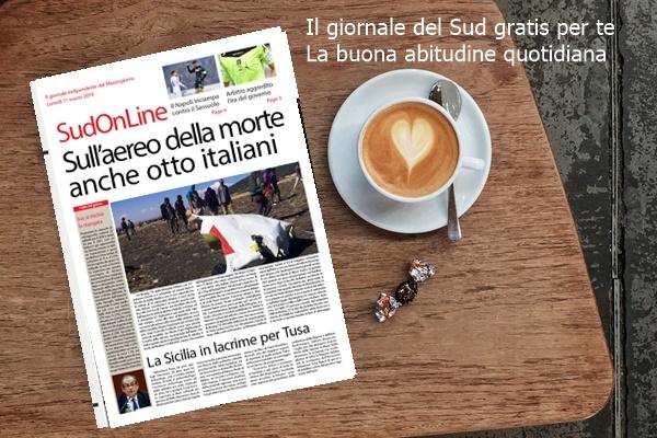 SudOnLine quotidiano di lunedì 11 marzo. Sull'areo della morte anche l'assessore-archeologo della Sicilia – Salvini: Alta velocità anche al Sud – Il Napoli inciampa con il Sassuolo