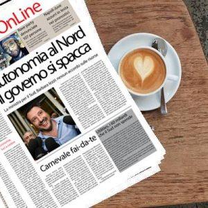 Sud On Line quotidiano. Autonomia al Nord, governo diviso – Bari, insultata in strada per il colore della pelle – Napoli-Juve, i bookmaker puntano sugli azzurri