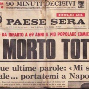 """Accadde oggi: 15 aprile 1967, moriva il grande Totò. Le sue ultime parole: """"Portatemi a Napoli"""""""