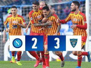 Passo indietro del Napoli: scivola al San Paolo contro il Lecce