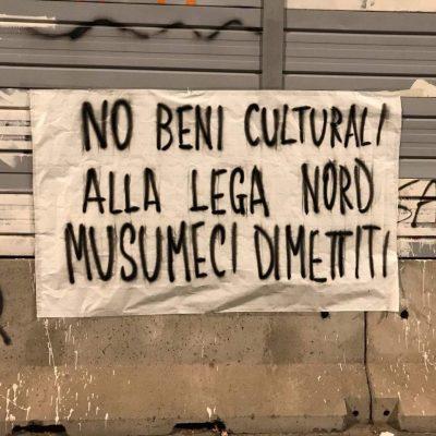 """Palermo, striscioni contro Musumeci: """"No i beni culturali alla lega"""""""