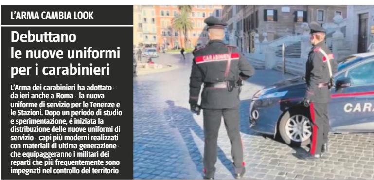 Ecco le nuove divise dei Carabinieri