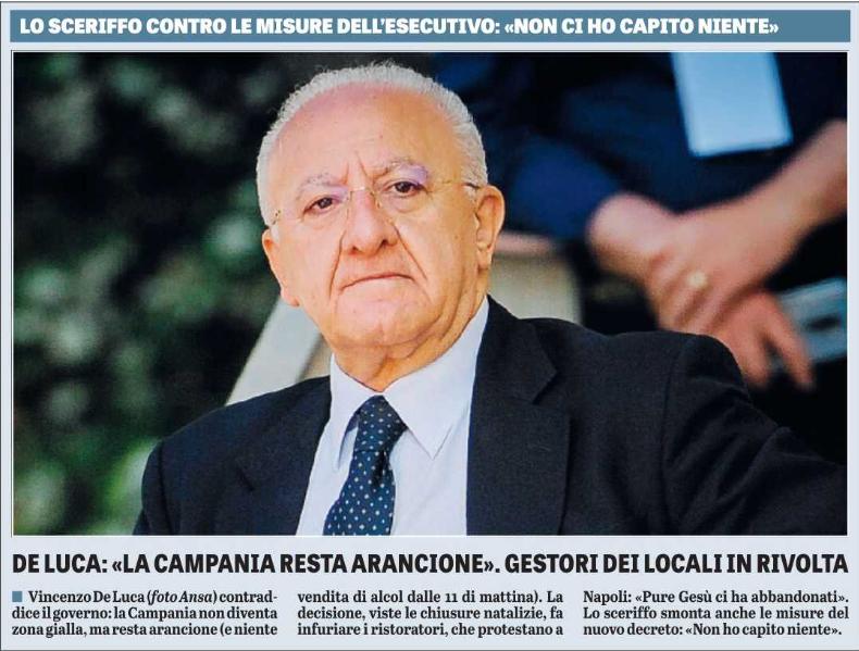 Campania, rivolta contro De Luca