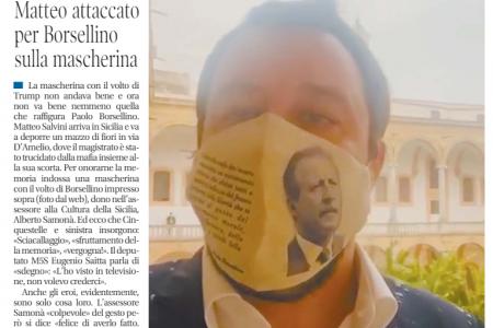 La mascherina con Borsellino: bufera su Salvini